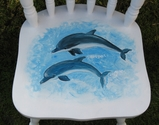Lovely child's chair, hand painted with pictures of dolphins. Name can be added on - SOLD