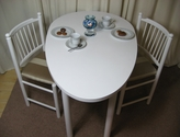 White egg-shaped desk or dining table and two chairs - SOLD
