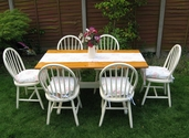Pine Farmhouse Table and 6 chairs in cream - SOLD