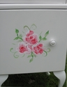 Beautiful White Bedside Cabinet with Roses - SOLD