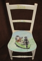 "Small chair painted with unique ""Owl and the Pussycat"" type design - Custom commission"