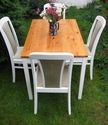 "Dining table and chairs, painted in Farrow and Ball ""Strong White"" - SOLD"