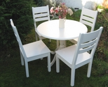 Set of table and chairs, painted in white and - SOLD