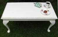 "Rectangular coffee table with lovely ""heart"" style edging. Painted in cream - SOLD"