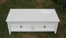 Beautiful white coffee table with two deep drawers - SOLD