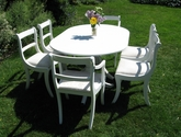 White extending dining table and chairs set - SOLD
