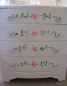 Beautiful White Chest of Drawers with Roses - SOLD