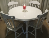White extendable dining table and 4 chairs - SOLD