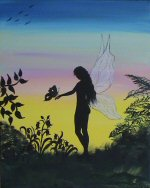 Silhouette fairy on canvas